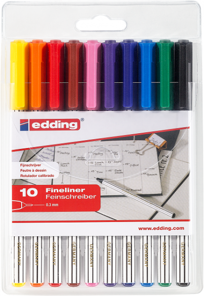 Edding 89 /10 S Fineliner Etui 10 Stück